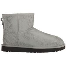 Ugg Australia Classic Mini Glitzy Grey Violet Womens Suede Slip-on Ankle Boots