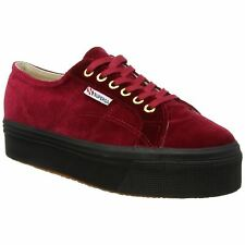 Superga 2790 Velvetw Red Dk Womens Velvet Lace Up Sneakers Trainers