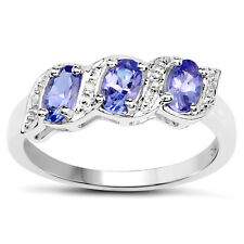 Sterling Argento 0.77ct Tanzanite & Diamante Eternity Fidanzamento Misure Anello