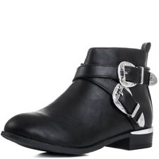 Womens Cowboy Western Buckle Flat Ankle Boots Shoes