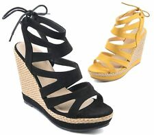 LADIES FAUX SUEDE HIGH WEDGE PLATFORM FAUX SUEDE TIE UP PEEP TOE CUT OUT SANDALS