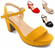 WOMENS LADIES HIGH BLOCK HEEL ANKLE STRAP PLATFORM SLINGBACK SANDALS SHOES SIZE