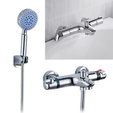 Thermostatic Bathroom Shower Mixer Taps Deck/Wall Mounted Chrome Bath Filler Tap