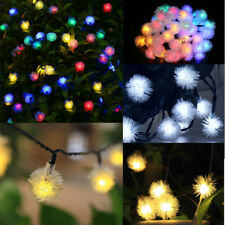 Solar Powered Waterproof 30 LED Fur Ball String Fairy Light Garden Party Decor