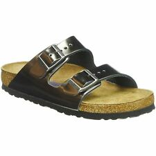 Birkenstock Arizona Metallic Anthracite Women Leather Slide Soft Footbed Sandals