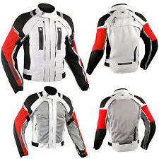 Motorcycle Jacket CE Armored Motorbike Textile Warterproof 4 layer White Red