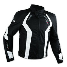 Motorbike Motorcycle Wind Waterproof CE Armour Breathable Textile Jacket White
