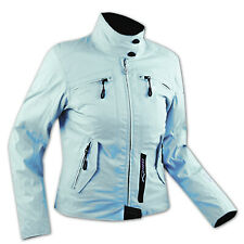 Ladies Textile Waterproof CE Armored Thermal Liner Jacket Motorcycle light Blue