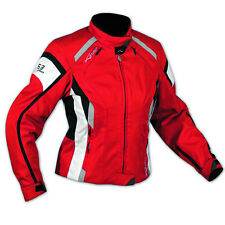 Jacket Textile Ladies Racing Motorcycle Motorbike All Season CE Armored Red