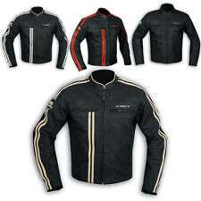 Jacket Leather Mens Biker Motorcycle CE Protectors Armored All Sizes