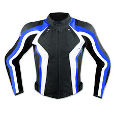 Racing Motor Sports Track Leather Jacket Motorbike Motorcycle A-PRO Blue
