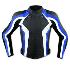 Motorbike Motorcycle Ladies CE Armours Sport Leather Racing Tour Jacket Blue