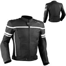 Motorcycle Motorbike Quality Genuine Leather Jacket CE Protection Cruiser White