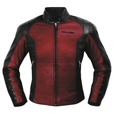 Ladies Leather Jacket Motorcycle Motorbike CE Armored Thermal Liner Red
