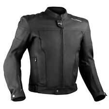 Motorcycle Motorbike Quality Genuine Leather Jacket CE Protection Cruiser Black
