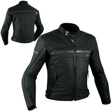 Quality Motorbike Motorcycle CE Armours Leather Touring Racing Jacket Black