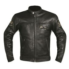 Motorbike Biker Custom Cruiser Motorcycle CE Armours Leather Jacket Black