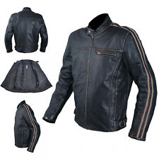 Motorcycle Jacket Leather Vintage Style CE Protectors Armour CE