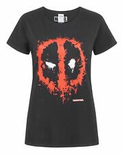 Marvel Comics Deadpool Splat Logo S-XXXL Femmes Noir T-Shirt