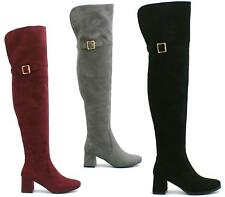 Ladies Womens Block Mid Heel Shoes Thigh High Wide Calf Over The Knee Boots Size