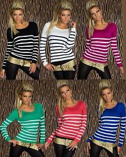 Pull pour femmes rayé pull pull court pull pull tricot boutons 6 couleurs