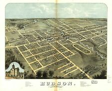 Poster Print Antique American Cities Towns States Map Hudson Lenawee Michigan