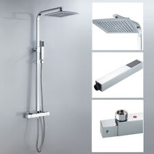 Thermostatic Shower Mixer Square Chrome Bathroom Exposed Twin Head Valve Set UK