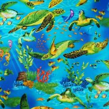 100% Cotton Fabric Timeless Treasures Turtles and Fish Ocean Sea Life