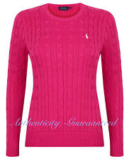 Ralph Lauren Women's Ladies Cable Knit Cotton Crew Jumper Pink S - XL RRP £120