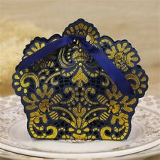 10/50pcs Lace Laser Cut Cake Candy Gift Boxes with Ribbon Wedding Favor Boxes