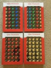 "Christmas Ornaments Mini Balls Boxed Set of 40 2x4"" Round Red Gold Multi"