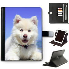 HAIRYWORM WHITE FLUFFY PUPPY DOG 360 SWIVEL LEATHER APPLE IPAD TABLET CASE