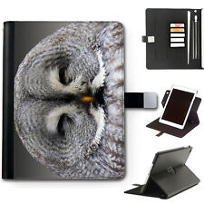 HAIRYWORM GREY OWL BIRD 360 SWIVEL DELUXE LEATHER APPLE IPAD TABLET CASE, COVER