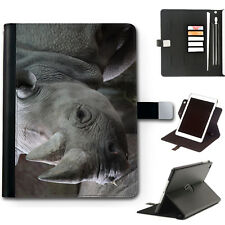 HAIRYWORM ANIMAL GREY RHINO 360 SWIVEL LEATHER WALLET APPLE IPAD CASE, COVER