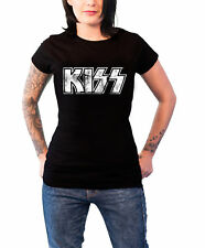 Kiss Distressed classic Logo nouveau officiel Femme Skinny Fit Noir T Shirt