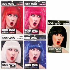 Womens Ladies Cosplay Full Bob Short Wig Fancy Dress Costume Black Blue Red
