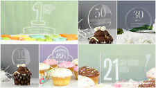 PERSONALISED ACRYLIC BIRTHDAY CAKE TOPPER ANY AGE NUMBERS BALLONS FLAGS
