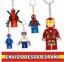 Llavero Figura Lego. Superheroes MARVEL X-MEN. Spiderman, Lobezno, Ironman...