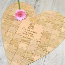 PERSONALIZZATO CUORE Baby Shower GUESTBOOK First 1st COMPLEANNO puzzle pezzo