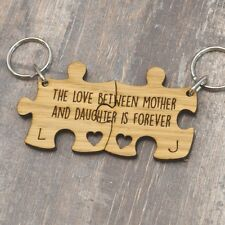 THE LOVE Between MADRE Y Hija IS FOREVER Personalizado Jigsaw LLAVERO SET