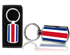 Costa Rica Flag Print Chrome Metal Keyring with Free Gift Box - 0166