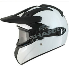 SHARK EXPLORE-R WHITE MOTORCYCLE ADVENTURE HELMET + GOGGLES FOR ON / OFF ROAD