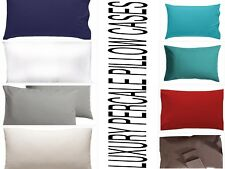 2 x Pillow Case Luxury Percale Cotton Easy Care House Wife Pillow Case Pair Pack