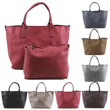 New Womens Plain Tote Hobo Shopper Shoulder Bag Handbag + Smaller Bag Inside
