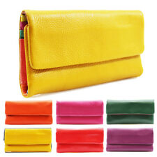 Womens Leather Multi Colored Interior Purse Wallet Pouch Card Holder Mini Bag
