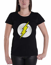 The Flash T Shirt Distressed Lightning Logo officiel Femme nouveau Noir Skinny