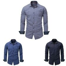 UOMO MODA manica lunga camicia quadri casual stretti Turn Down Colletto Top NICE