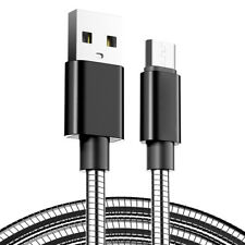 Stainless Steel 2M Micro USB Fast Charger Data Cable Lead for Samsung S7 S6 Sony