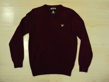 LYLE & SCOTT VINTAGE 100% LAMBSWOOL V-NECK JUMPER CLARET JUG XS, USED! CASUAL!