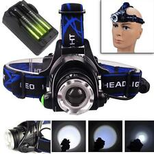 12000LM T6 LED Zoom Headlamp Head Torch Headlight+18650 Batteries+Charger IN